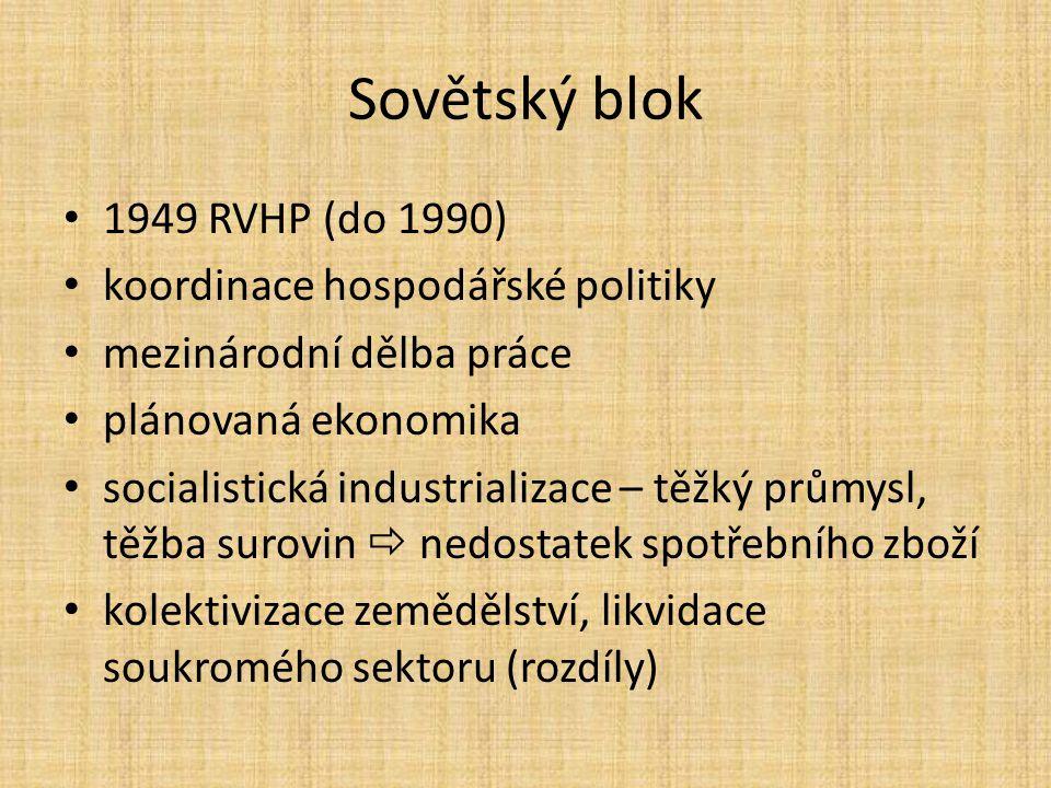 Sovětský blok 1949 RVHP (do 1990) koordinace hospodářské politiky mezinárodní dělba práce plánovaná ekonomika socialistická industrializace – těžký pr