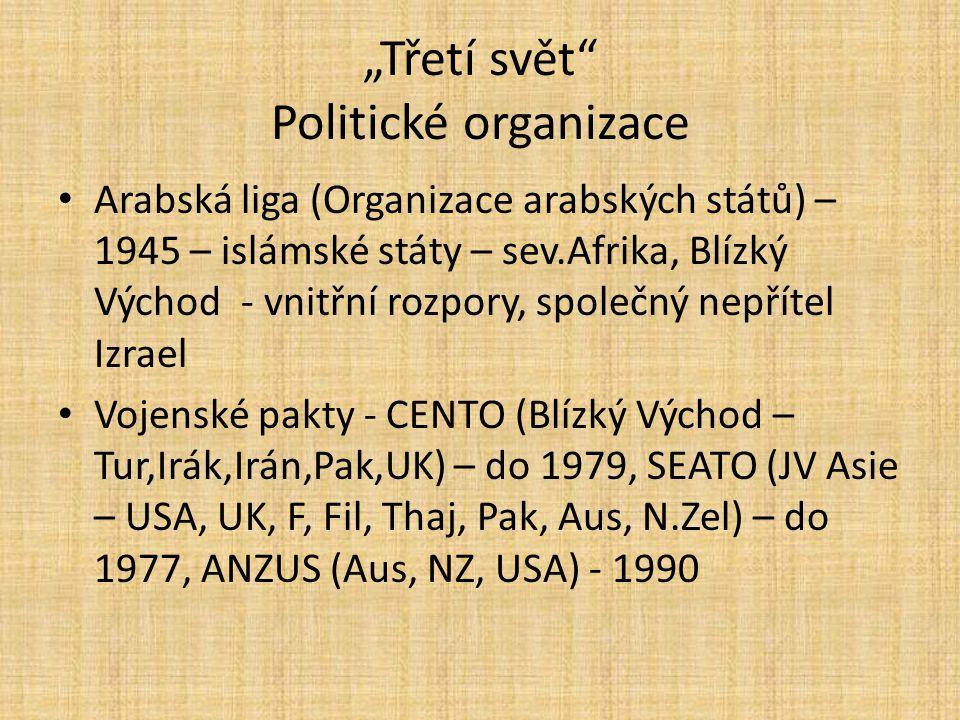 """""""Třetí svět"""" Politické organizace Arabská liga (Organizace arabských států) – 1945 – islámské státy – sev.Afrika, Blízký Východ - vnitřní rozpory, spo"""
