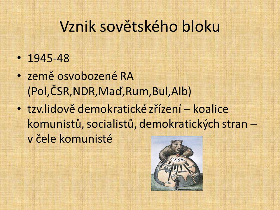 Vznik sovětského bloku 1945-48 země osvobozené RA (Pol,ČSR,NDR,Maď,Rum,Bul,Alb) tzv.lidově demokratické zřízení – koalice komunistů, socialistů, demok