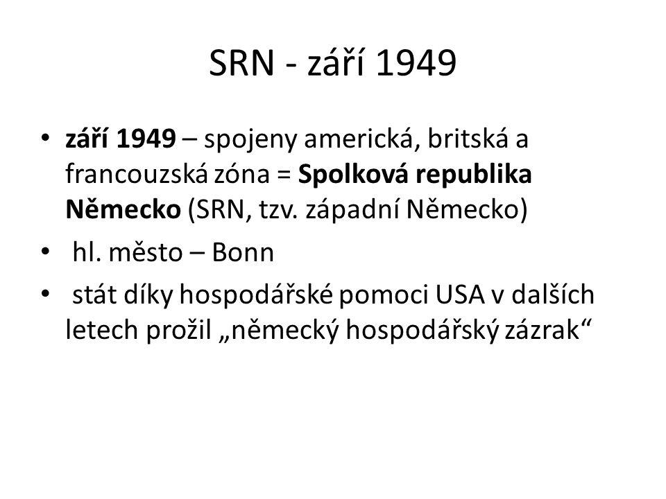 SRN - září 1949 září 1949 – spojeny americká, britská a francouzská zóna = Spolková republika Německo (SRN, tzv. západní Německo) hl. město – Bonn stá