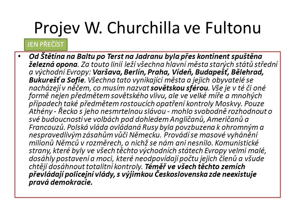 Projev W. Churchilla ve Fultonu Od Štětína na Baltu po Terst na Jadranu byla přes kontinent spuštěna železná opona. Za touto linií leží všechna hlavní