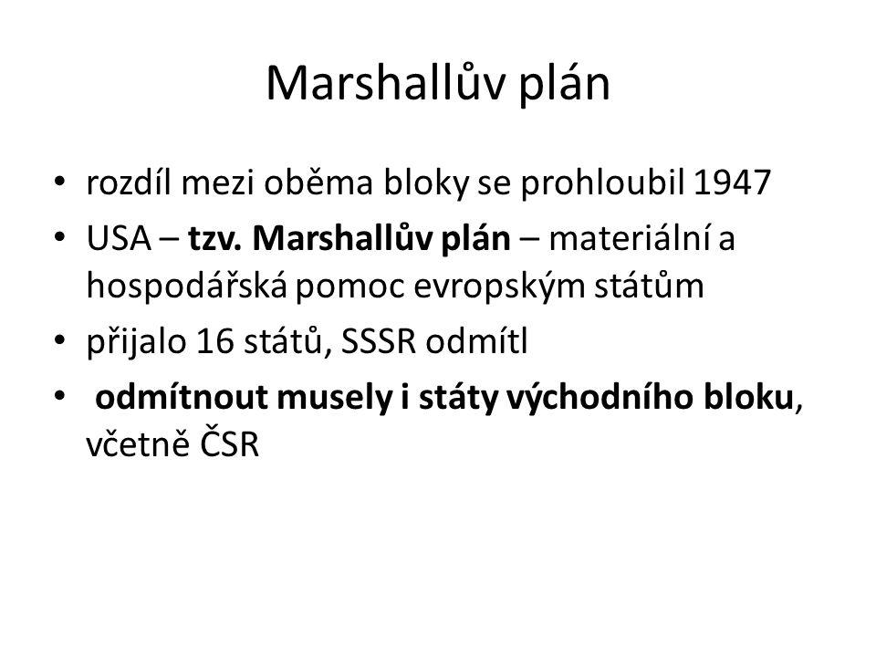 Marshallův plán rozdíl mezi oběma bloky se prohloubil 1947 USA – tzv. Marshallův plán – materiální a hospodářská pomoc evropským státům přijalo 16 stá