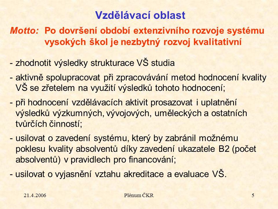 21.4.2006Plénum ČKR5 Vzdělávací oblast Motto:Po dovršení období extenzivního rozvoje systému vysokých škol je nezbytný rozvoj kvalitativní -zhodnotit