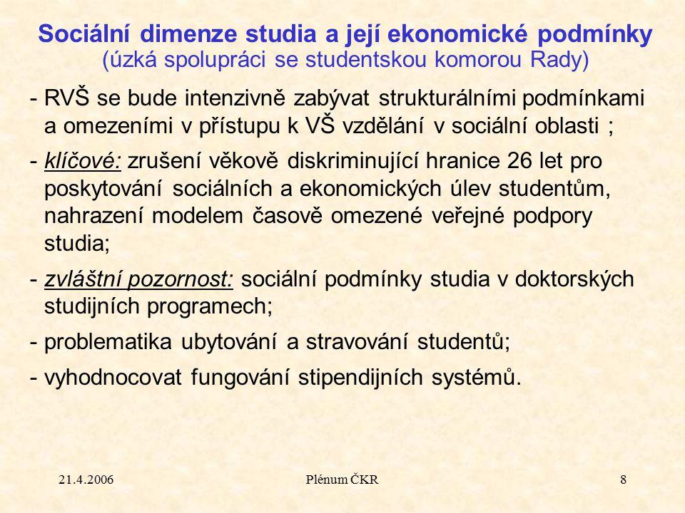 21.4.2006Plénum ČKR8 Sociální dimenze studia a její ekonomické podmínky (úzká spolupráci se studentskou komorou Rady) -RVŠ se bude intenzivně zabývat