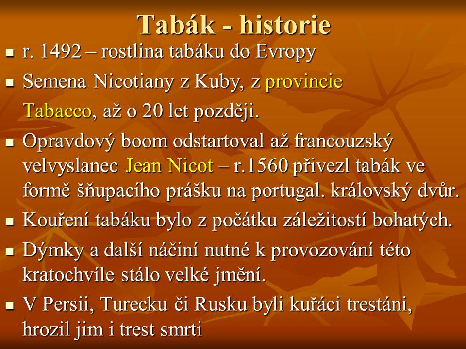Tabák - historie Do Čech se tabák dostal za vlády Rudolfa II, který podporoval vše neobvyklé a nové.
