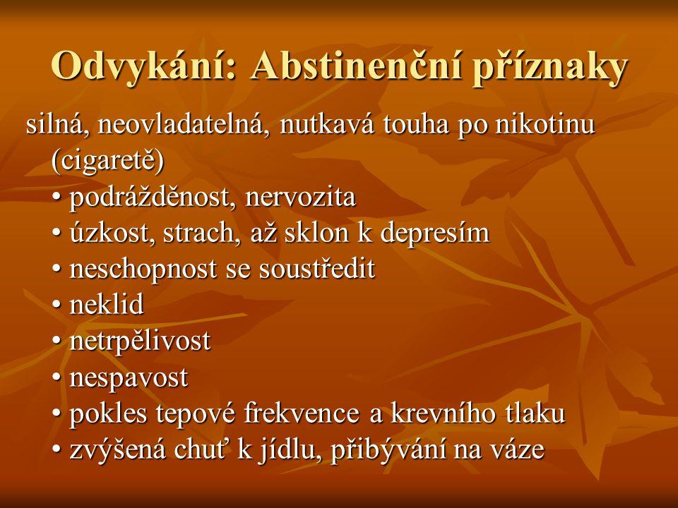 Odvykání: Abstinenční příznaky silná, neovladatelná, nutkavá touha po nikotinu (cigaretě) podrážděnost, nervozita úzkost, strach, až sklon k depresím