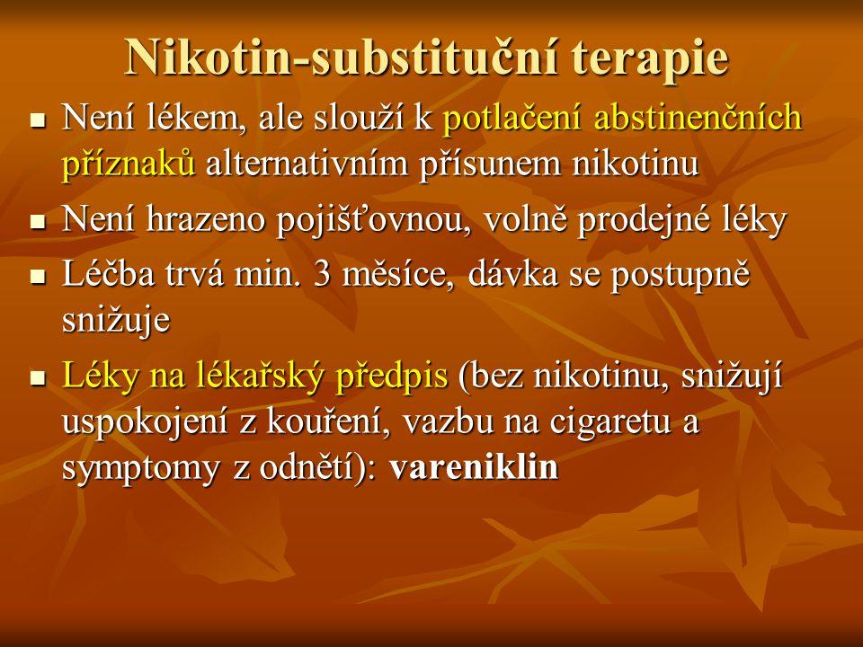 Nikotin-substituční terapie Není lékem, ale slouží k potlačení abstinenčních příznaků alternativním přísunem nikotinu Není lékem, ale slouží k potlače