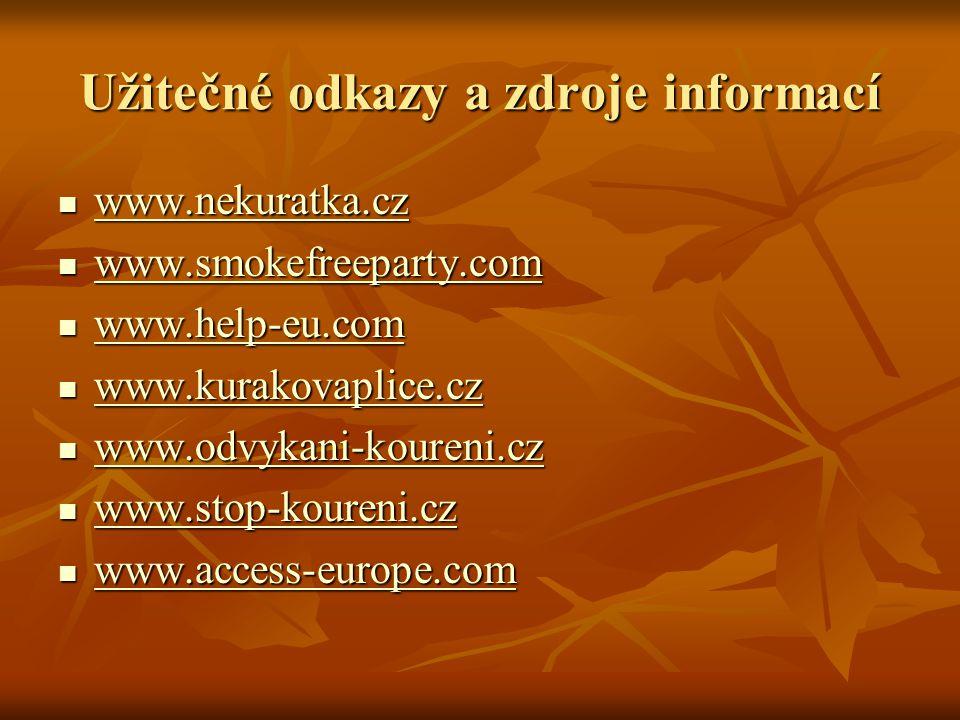 Užitečné odkazy a zdroje informací www.nekuratka.cz www.nekuratka.cz www.nekuratka.cz www.smokefreeparty.com www.smokefreeparty.com www.smokefreeparty