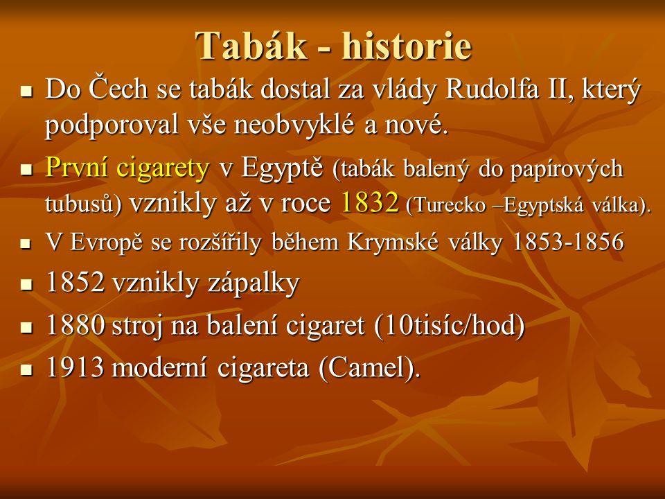 Tabák - historie Do Čech se tabák dostal za vlády Rudolfa II, který podporoval vše neobvyklé a nové. Do Čech se tabák dostal za vlády Rudolfa II, kter