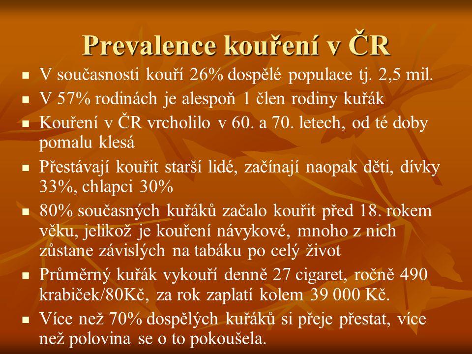 Epidemiologie následků kouření v ČR 80% všech Čechů má alespoň jednu zkušenost s cigaretou 80% všech Čechů má alespoň jednu zkušenost s cigaretou Průměrný kuřák si zkrátí svůj život o cca 15 let Průměrný kuřák si zkrátí svůj život o cca 15 let Na následky kouření zemře každý 2.