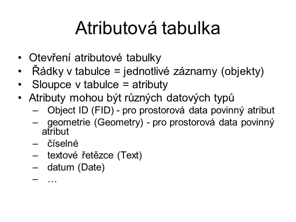 Atributová tabulka Otevření atributové tabulky Řádky v tabulce = jednotlivé záznamy (objekty) Sloupce v tabulce = atributy Atributy mohou být různých datových typů – Object ID (FID) - pro prostorová data povinný atribut – geometrie (Geometry) - pro prostorová data povinný atribut –číselné – textové řetězce (Text) – datum (Date) – …