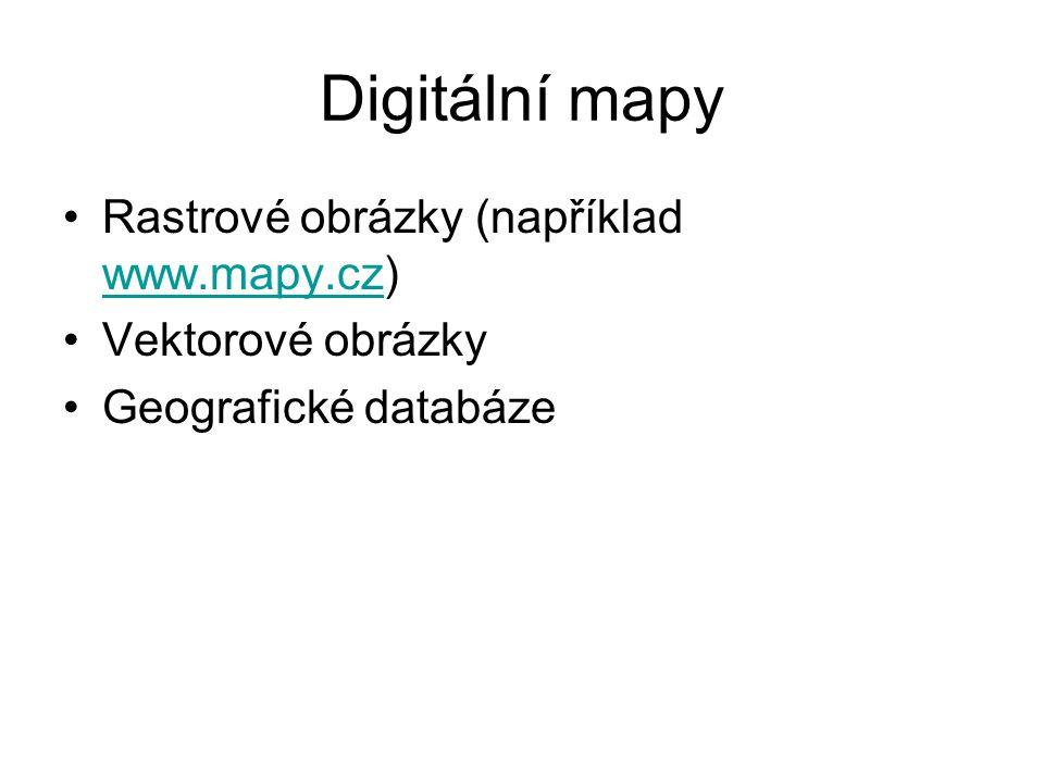 Digitální mapy Rastrové obrázky (například www.mapy.cz) www.mapy.cz Vektorové obrázky Geografické databáze
