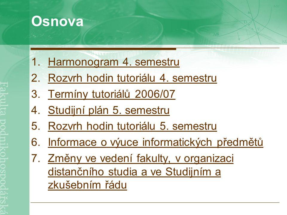 Osnova 1.Harmonogram 4. semestruHarmonogram 4. semestru 2.Rozvrh hodin tutoriálu 4.