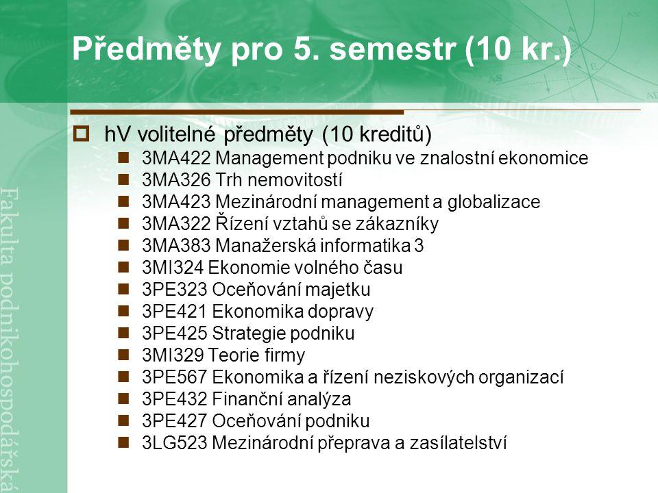 Předměty pro 5.