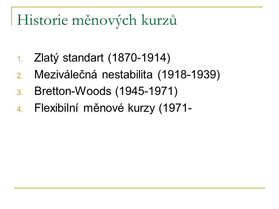 Historie měnových kurzů 1. Zlatý standart (1870-1914) 2. Meziválečná nestabilita (1918-1939) 3. Bretton-Woods (1945-1971) 4. Flexibilní měnové kurzy (