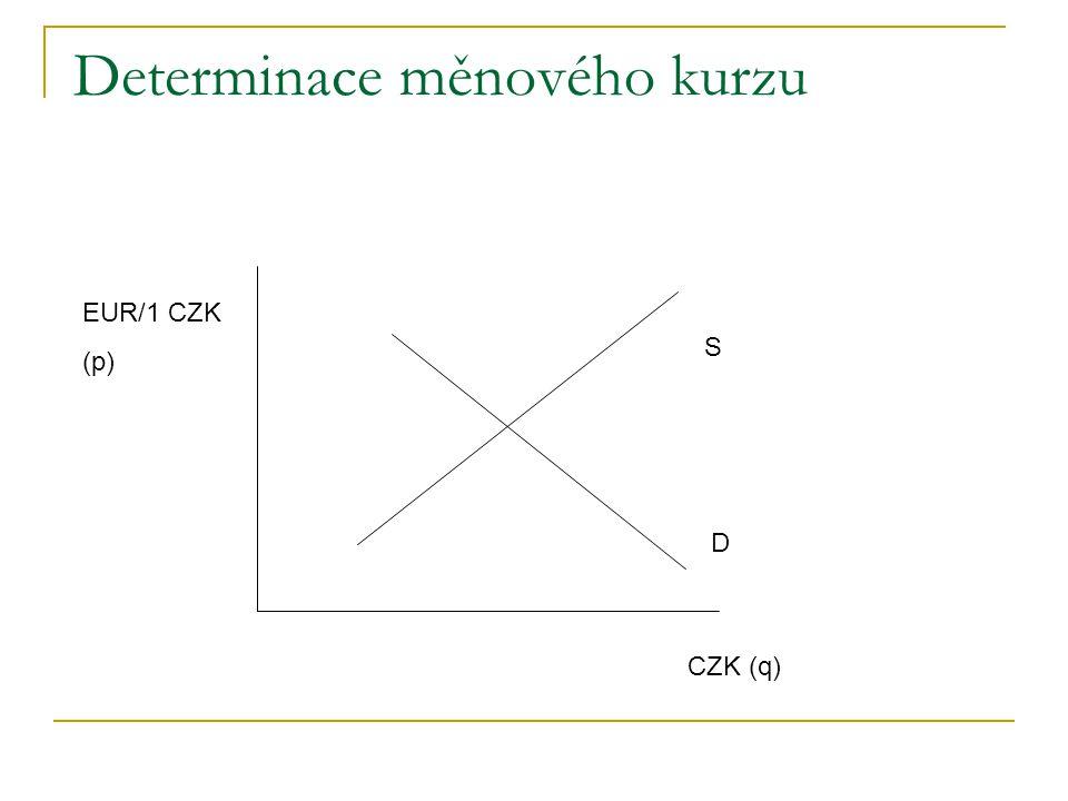 Determinace měnového kurzu S D CZK (q) EUR/1 CZK (p)