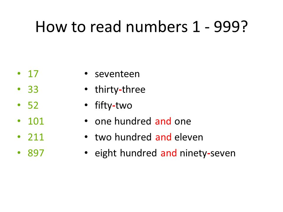 How to read numbers 1 - 999.