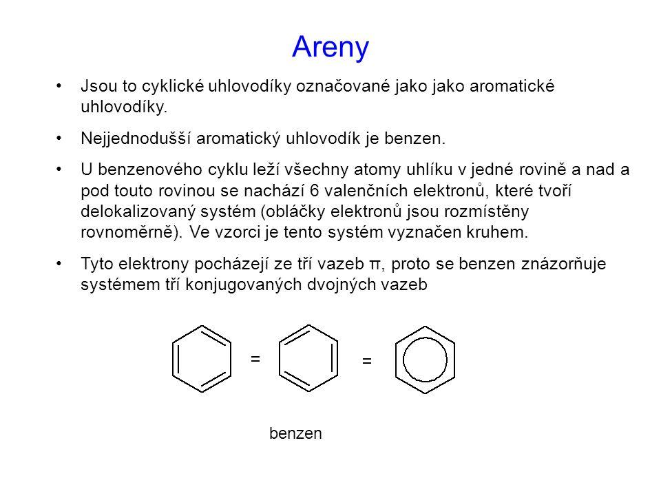 Areny Jsou to cyklické uhlovodíky označované jako jako aromatické uhlovodíky. Nejjednodušší aromatický uhlovodík je benzen. U benzenového cyklu leží v