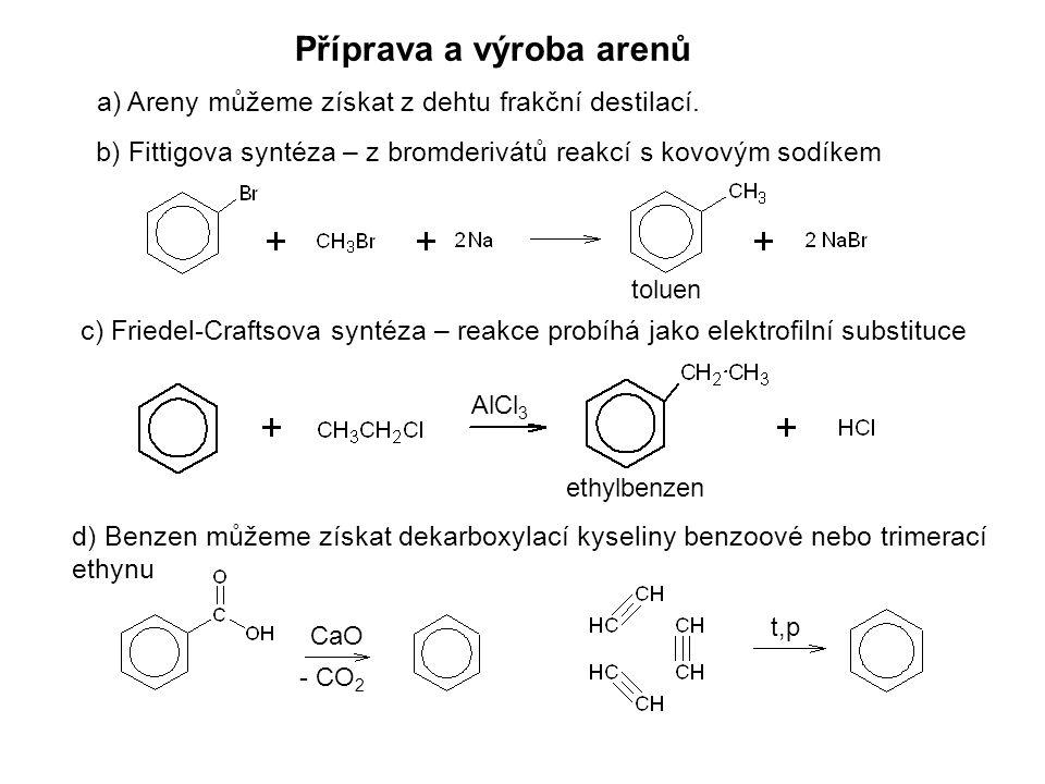 Příprava a výroba arenů a) Areny můžeme získat z dehtu frakční destilací. b) Fittigova syntéza – z bromderivátů reakcí s kovovým sodíkem c) Friedel-Cr