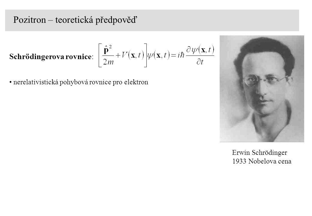 nerelativistická pohybová rovnice pro elektron Schrödingerova rovnice: Pozitron – teoretická předpověď Erwin Schrödinger 1933 Nobelova cena