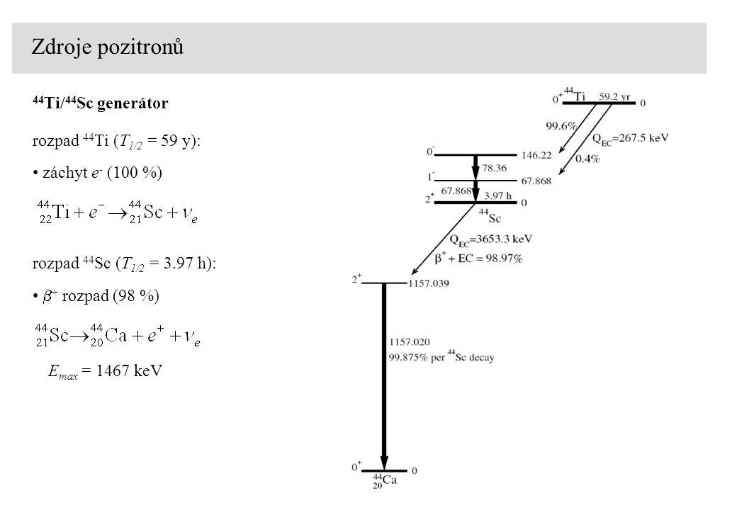 Zdroje pozitronů záchyt e - (100 %) rozpad 44 Ti (T 1/2 = 59 y): 44 Ti/ 44 Sc generátor  + rozpad (98 %) rozpad 44 Sc (T 1/2 = 3.97 h): E max = 1467 keV