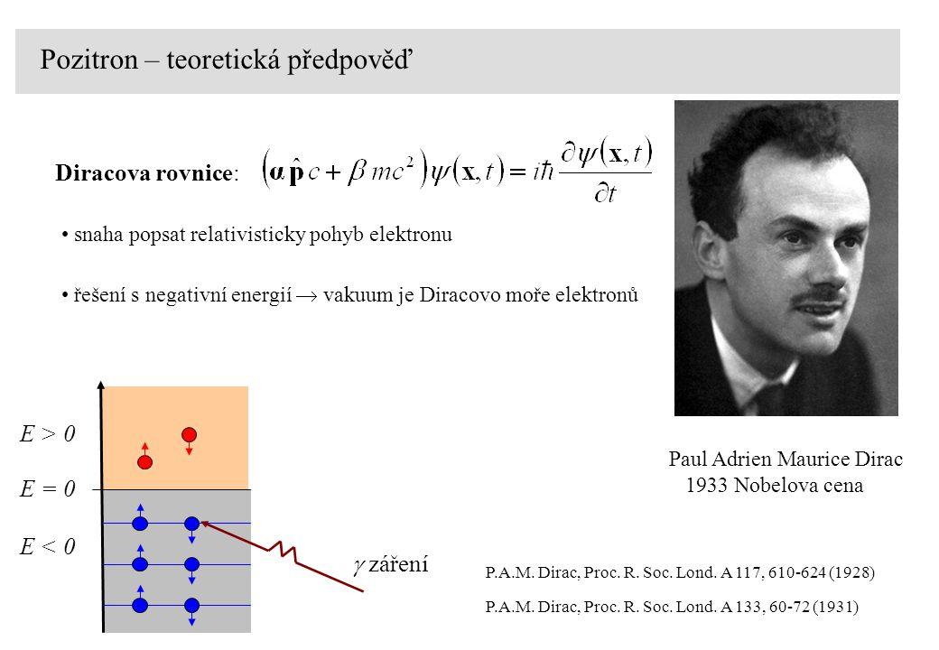 E > 0 E = 0 E < 0  záření P.A.M.Dirac, Proc. R. Soc.