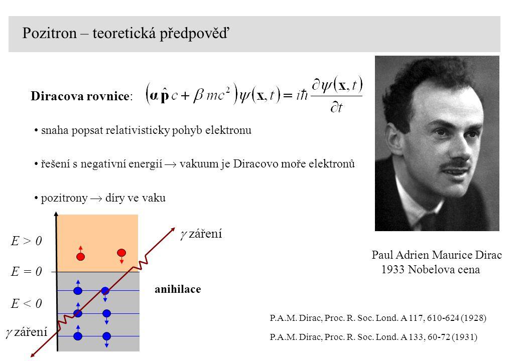 E > 0 E = 0 E < 0 anihilace  záření P.A.M.Dirac, Proc.