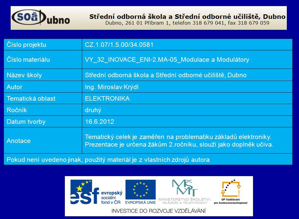 Číslo projektuCZ.1.07/1.5.00/34.0581 Číslo materiáluVY_32_INOVACE_ENI-2.MA-05_Modulace a Modulátory Název školyStřední odborná škola a Střední odborné učiliště, Dubno AutorIng.