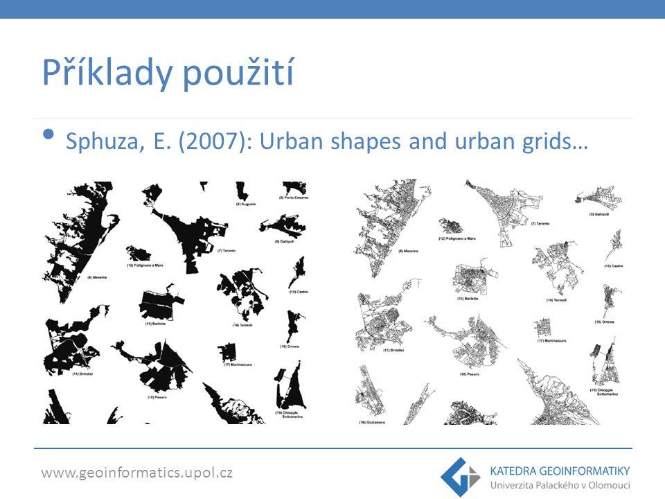 www.geoinformatics.upol.cz Příklady použití Sphuza, E. (2007): Urban shapes and urban grids…