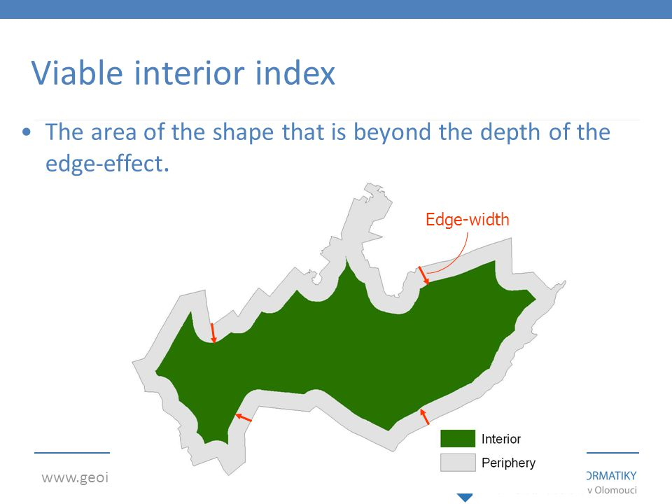 www.geoinformatics.upol.cz Edge-width Viable interior index The area of the shape that is beyond the depth of the edge-effect.