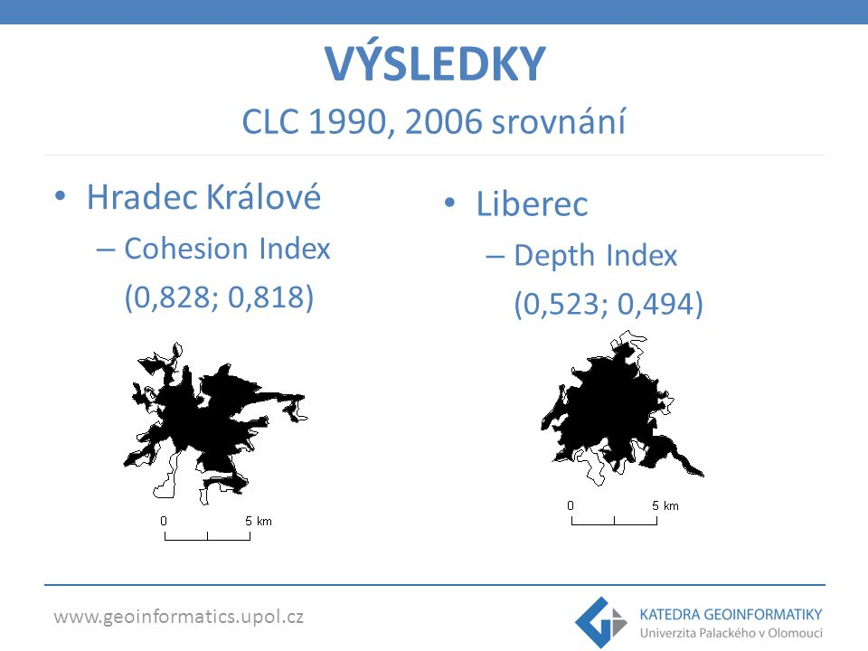 www.geoinformatics.upol.cz Města EU (Urban Atlas) Related Circumscibing Circle Index – Bukurešť (0,354) – Brusel (0,442) VÝSLEDKY – Kodaň (0,829 ) – Vídeň (0,783)