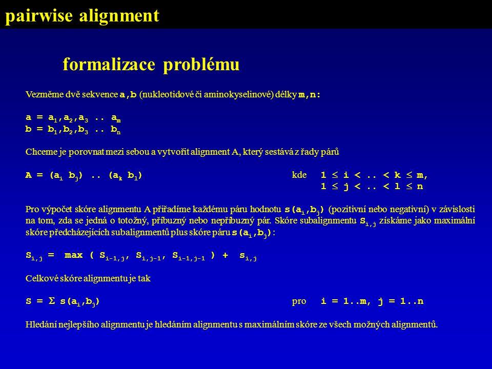 formalizace problému Vezměme dvě sekvence a,b (nukleotidové či aminokyselinové) délky m,n: a = a 1,a 2,a 3..
