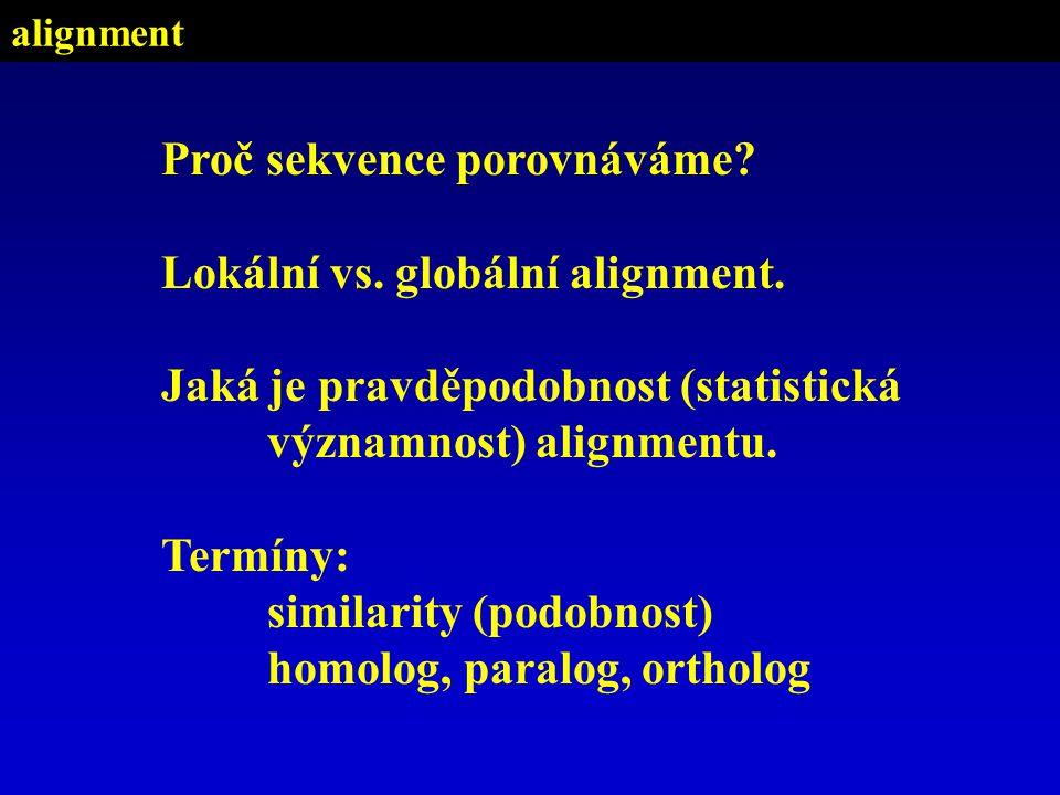 Proč sekvence porovnáváme. Lokální vs. globální alignment.