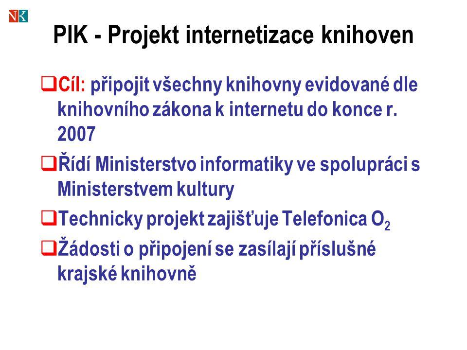 PIK - Projekt internetizace knihoven  Cíl: připojit všechny knihovny evidované dle knihovního zákona k internetu do konce r.