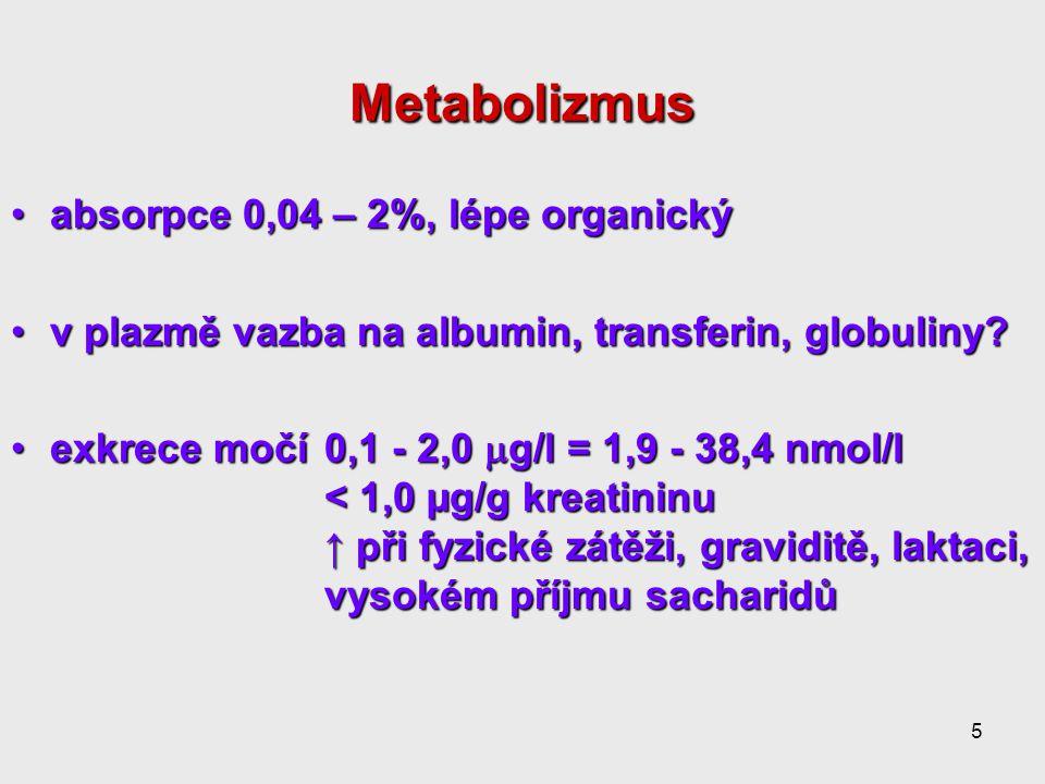 5 Metabolizmus absorpce 0,04 – 2%, lépe organickýabsorpce 0,04 – 2%, lépe organický v plazmě vazba na albumin, transferin, globuliny?v plazmě vazba na albumin, transferin, globuliny.