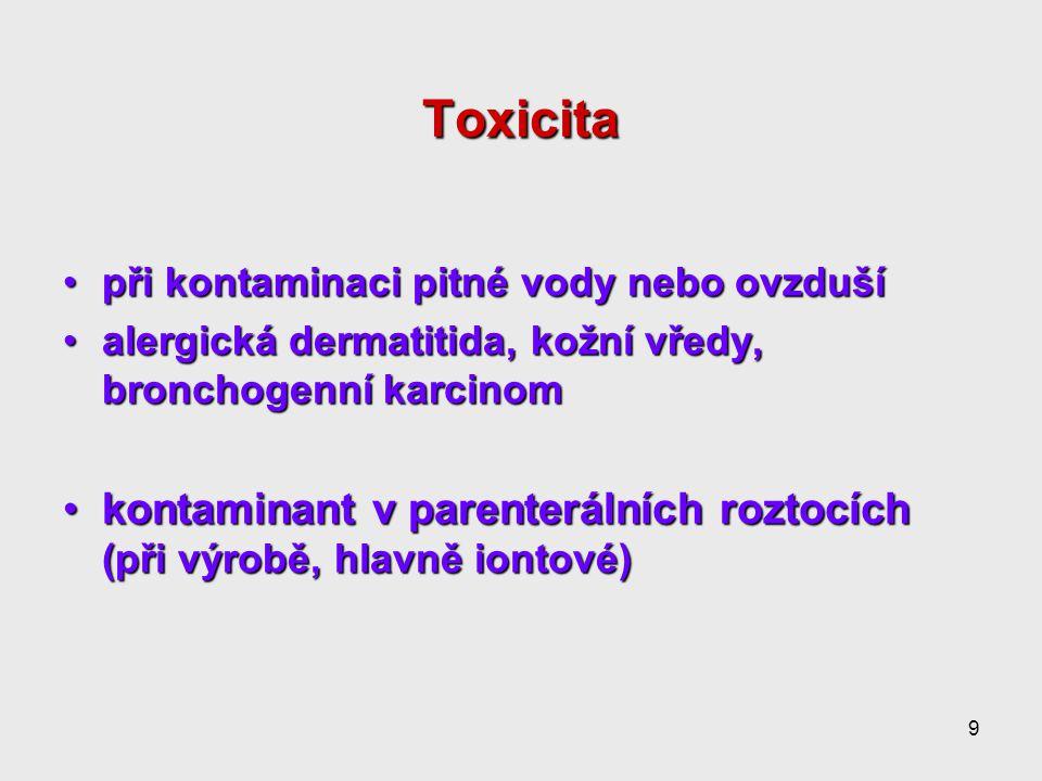 9 Toxicita při kontaminaci pitné vody nebo ovzdušípři kontaminaci pitné vody nebo ovzduší alergická dermatitida, kožní vředy, bronchogenní karcinomalergická dermatitida, kožní vředy, bronchogenní karcinom kontaminant v parenterálních roztocích (při výrobě, hlavně iontové)kontaminant v parenterálních roztocích (při výrobě, hlavně iontové)