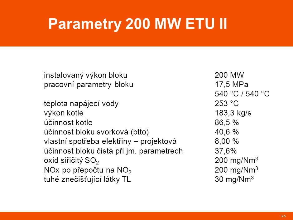 15 Parametry 200 MW ETU II instalovaný výkon bloku200 MW pracovní parametry bloku17,5 MPa 540 °C / 540 °C teplota napájecí vody253 °C výkon kotle183,3 kg/s účinnost kotle86,5 % účinnost bloku svorková (btto)40,6 % vlastní spotřeba elektřiny – projektová8,00 % účinnost bloku čistá při jm.
