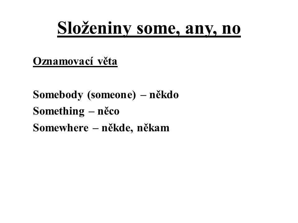 Složeniny some, any, no Otázka Anybody (anyone) – někdo Anything – něco Anywhere – někde, někam