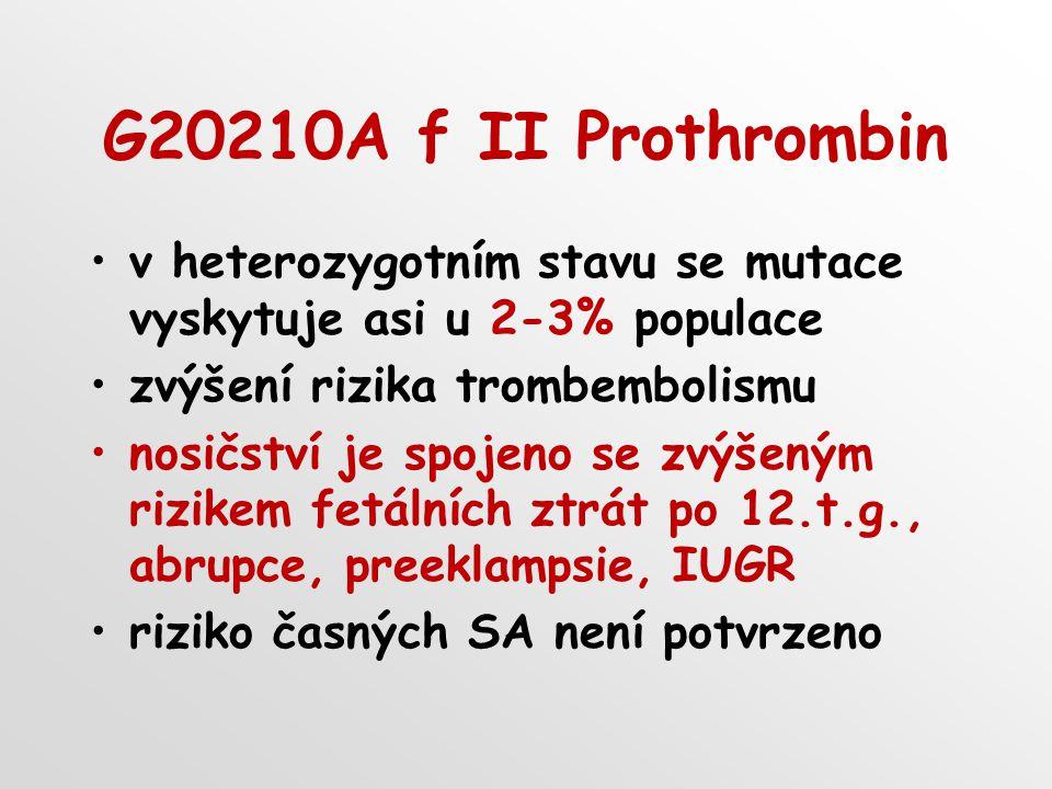 G20210A f II Prothrombin v heterozygotním stavu se mutace vyskytuje asi u 2-3% populace zvýšení rizika trombembolismu nosičství je spojeno se zvýšeným rizikem fetálních ztrát po 12.t.g., abrupce, preeklampsie, IUGR riziko časných SA není potvrzeno
