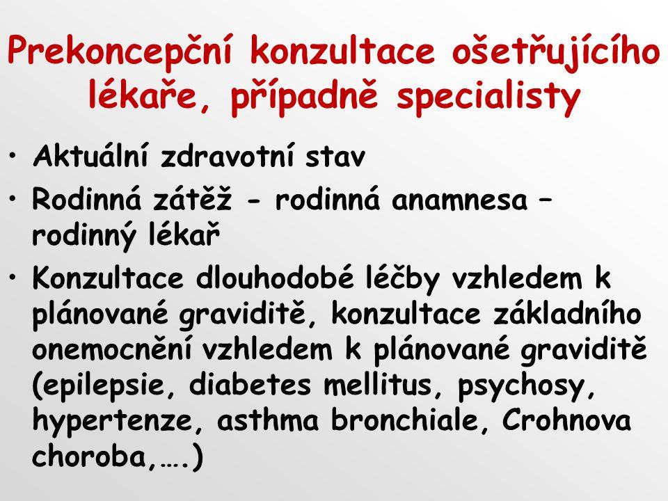 Prekoncepční konzultace ošetřujícího lékaře, případně specialisty Aktuální zdravotní stav Rodinná zátěž - rodinná anamnesa – rodinný lékař Konzultace dlouhodobé léčby vzhledem k plánované graviditě, konzultace základního onemocnění vzhledem k plánované graviditě (epilepsie, diabetes mellitus, psychosy, hypertenze, asthma bronchiale, Crohnova choroba,….)