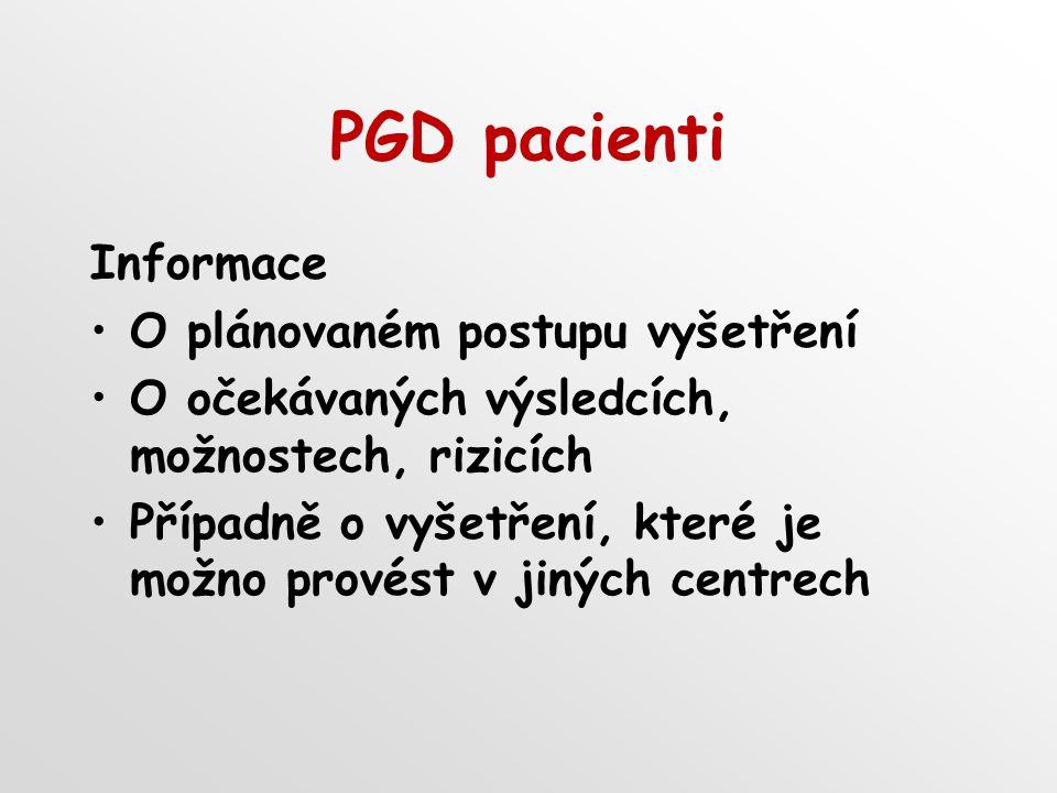 PGD pacienti Informace O plánovaném postupu vyšetření O očekávaných výsledcích, možnostech, rizicích Případně o vyšetření, které je možno provést v jiných centrech