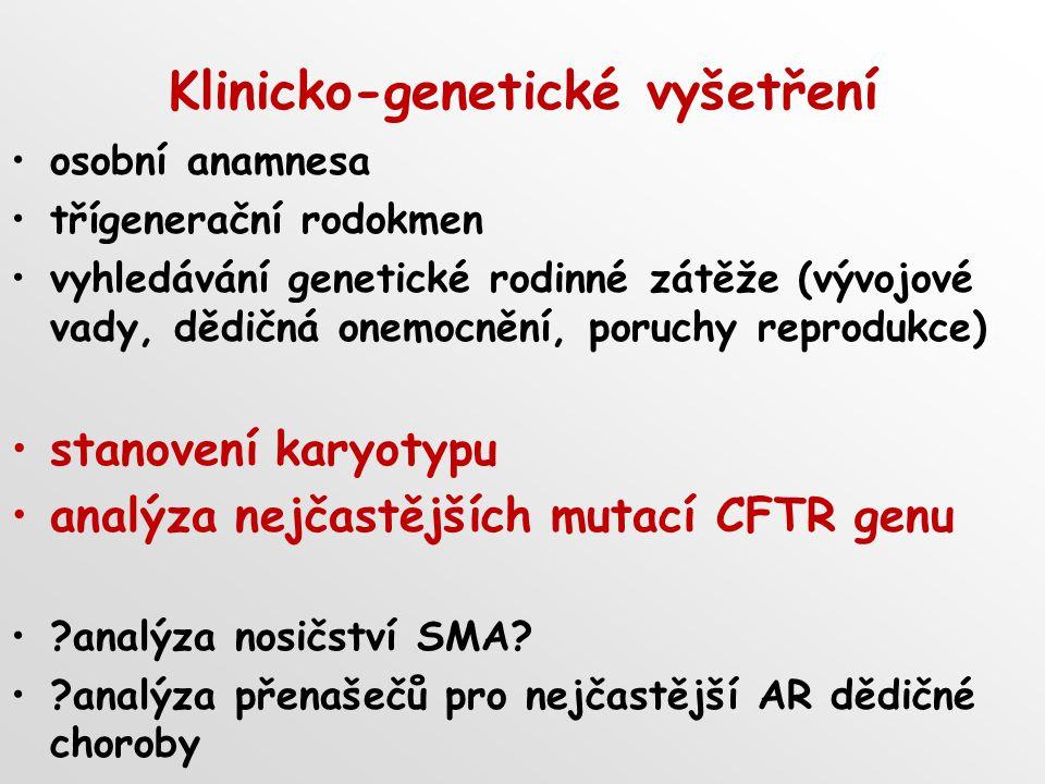 Klinicko-genetické vyšetření osobní anamnesa třígenerační rodokmen vyhledávání genetické rodinné zátěže (vývojové vady, dědičná onemocnění, poruchy reprodukce) stanovení karyotypu analýza nejčastějších mutací CFTR genu ?analýza nosičství SMA.