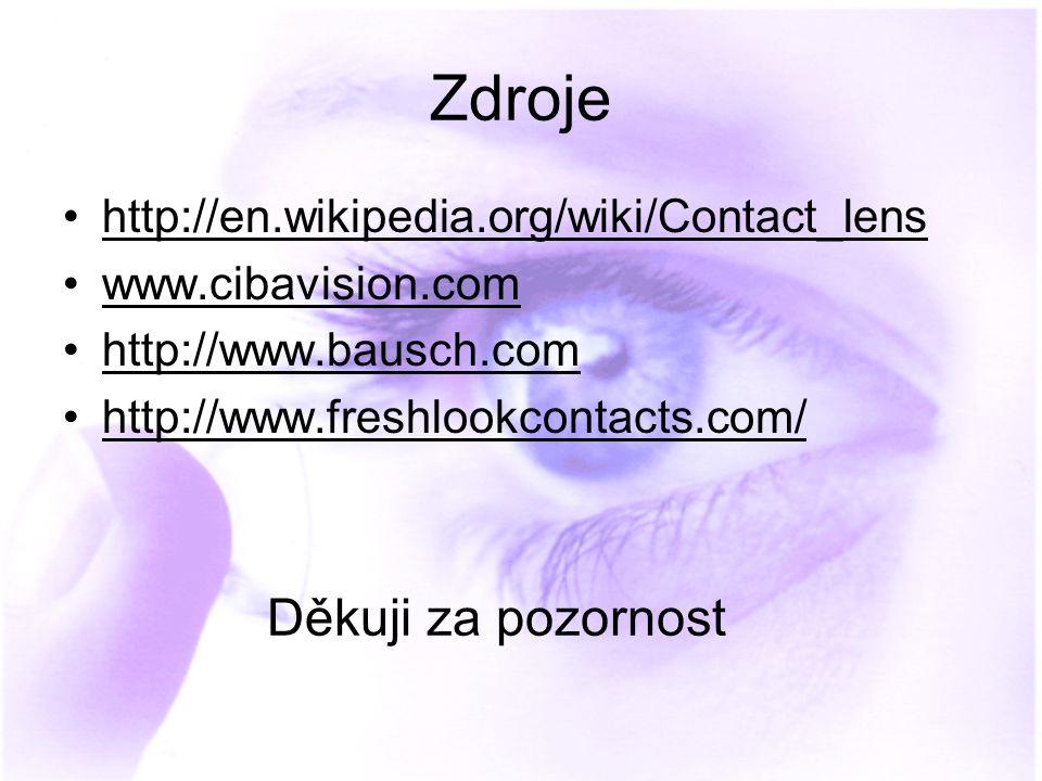 Zdroje http://en.wikipedia.org/wiki/Contact_lens www.cibavision.com http://www.bausch.com http://www.freshlookcontacts.com/ Děkuji za pozornost