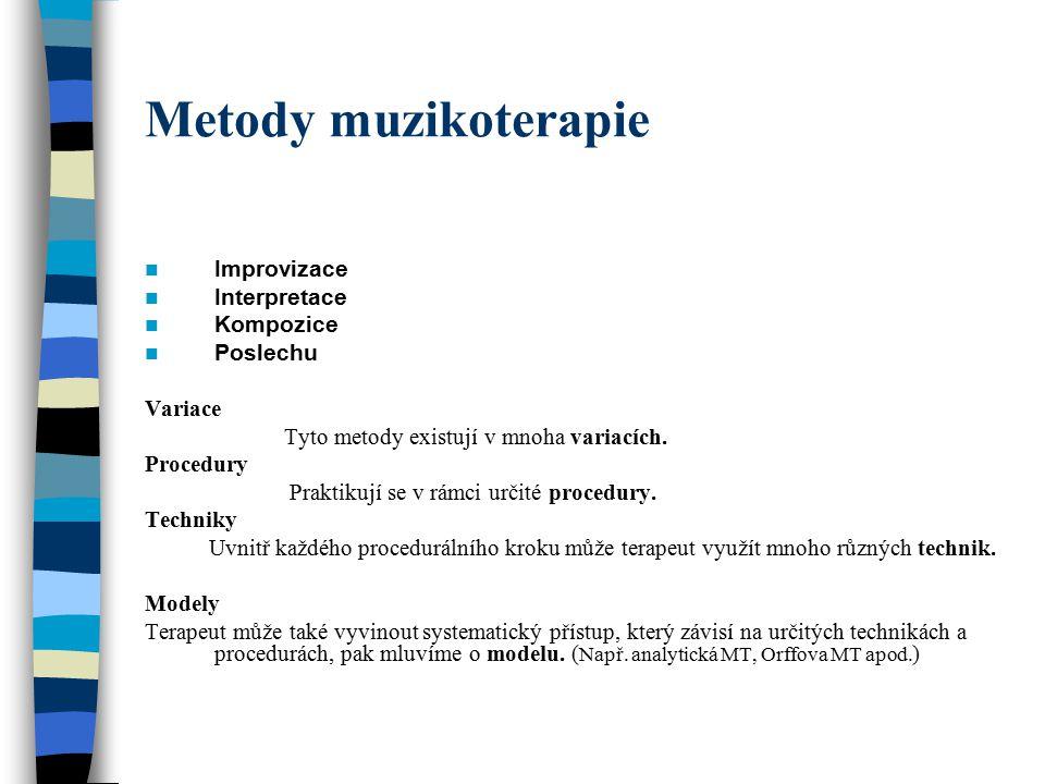 Metody muzikoterapie Improvizace Interpretace Kompozice Poslechu Variace Tyto metody existují v mnoha variacích. Procedury Praktikují se v rámci určit