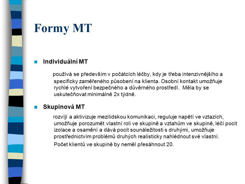 Formy MT Individuální MT používá se především v počátcích léčby, kdy je třeba intenzivnějšího a specificky zaměřeného působení na klienta. Osobní kont