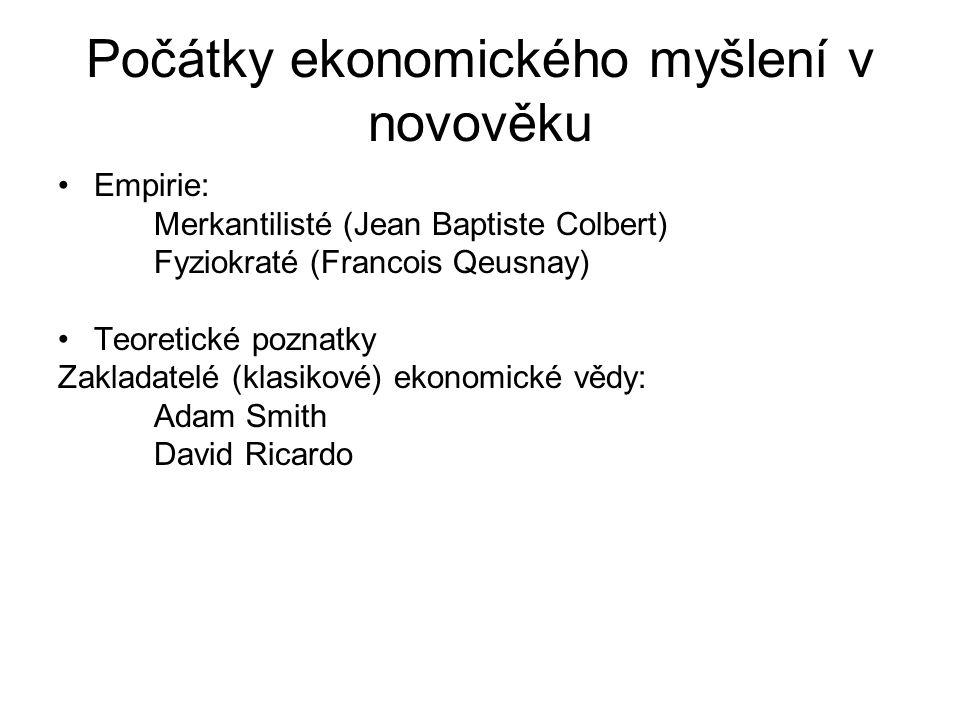 Ekonomie = oikonomia Oikos = dům Nomo = řídit