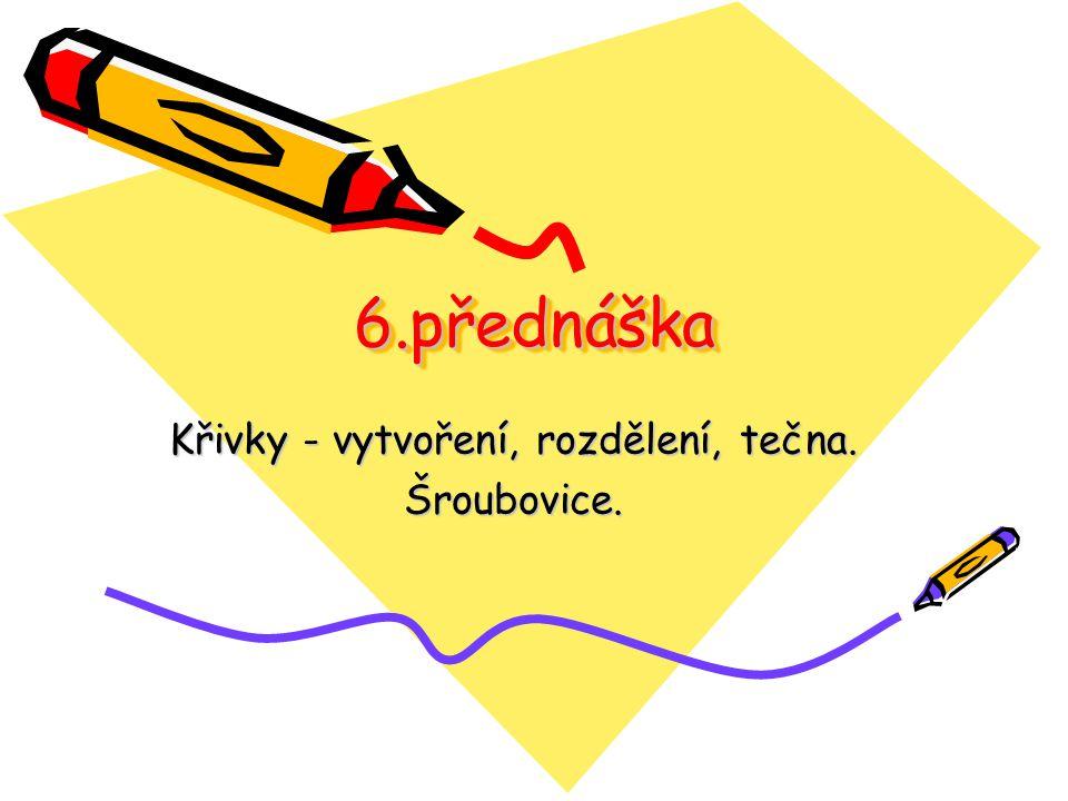 6.přednáška Křivky - vytvoření, rozdělení, tečna. Šroubovice.