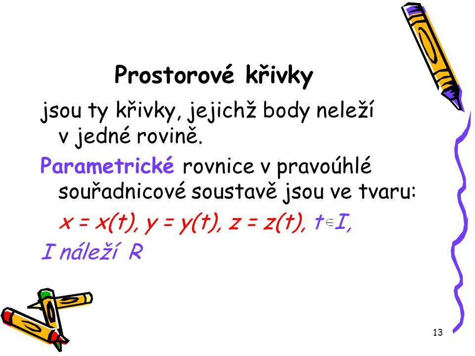 13 Prostorové křivky jsou ty křivky, jejichž body neleží v jedné rovině.