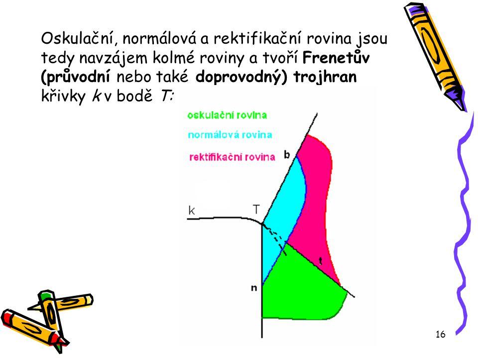 16 Oskulační, normálová a rektifikační rovina jsou tedy navzájem kolmé roviny a tvoří Frenetův (průvodní nebo také doprovodný) trojhran křivky k v bodě T: