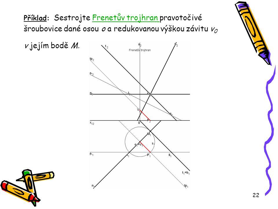 22 Příklad: Sestrojte Frenetův trojhran pravotočivé šroubovice dané osou o a redukovanou výškou závitu v 0 v jejím bodě M.Frenetův trojhran
